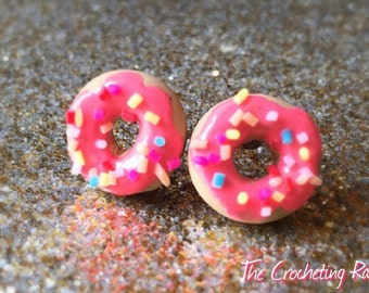 Donut Earrings Doughnut Stud Earrings Donut Jewelry Donut Earrings Sprinkle Donut