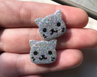 Cat Earrings Cat Stud Earrings Holographic Earrings Holo Earrings