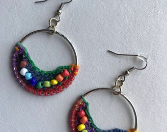 Crochet Earrings Rainbow Earrings Pride Earrings Crochet Hoops Beaded Earrings Gay Pride Earrings