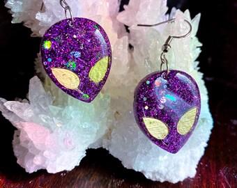 Alien Earrings Alien Jewelry Resin Dangle Earrings