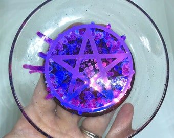 Pentagram Trinket Dish Resin Art Petri Art Ring Dish Jewelry Dish