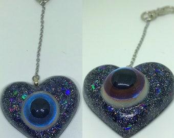 Eyeball Heart Key Chain Color Shifting Eye OOAK