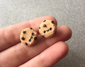 Chocolate Chip Cookie Earrings Stud Earrings Polymer Clay Cookie Earrings Cookie Studs