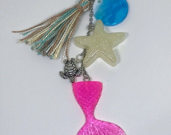 Mermaid Tail Keychain Resin Keychain Tassel Keychain Beach Keychain Ocean Keychain
