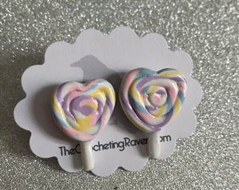 Lollipop Earrings Stud Earrings Heart Rainbow Lollipop Pastel Lollipop Swirly Lollipop (#5)