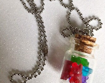 Gummy Bear Pendant Necklace Gummy Bear Candy Necklace Resin Necklace Resin Pendant Resin Gummy Bear Gummy Bear Jar
