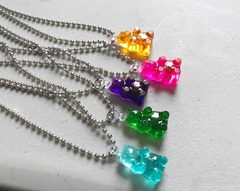 Gummy Bear Necklace Gummy Bear Jewelry Gummy Bear Candy Resin Gummy Bear Candy Jewelry