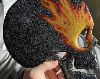 Giant Skull holo glitter with flames