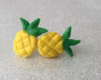 Pineapple Earrings Studs Polymer Clay