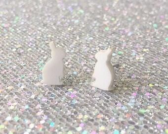 Tiny White Rabbit Stud Earrings