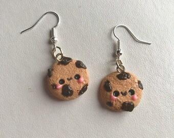 Chocolate Chip Cookie Earrings Kawaii Earrings Polymer Clay Earrings
