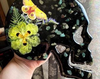 Obsidian & Aventurine Quartz Crystal Skull Wall Decor Skull Art Flower Skull Art