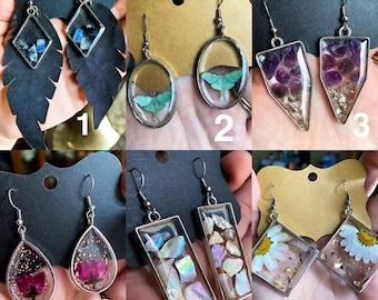 Flower Earrings Shell Earrings Crystal Earrings