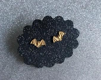 Bat Earrings Brass Bat Stud Earrings