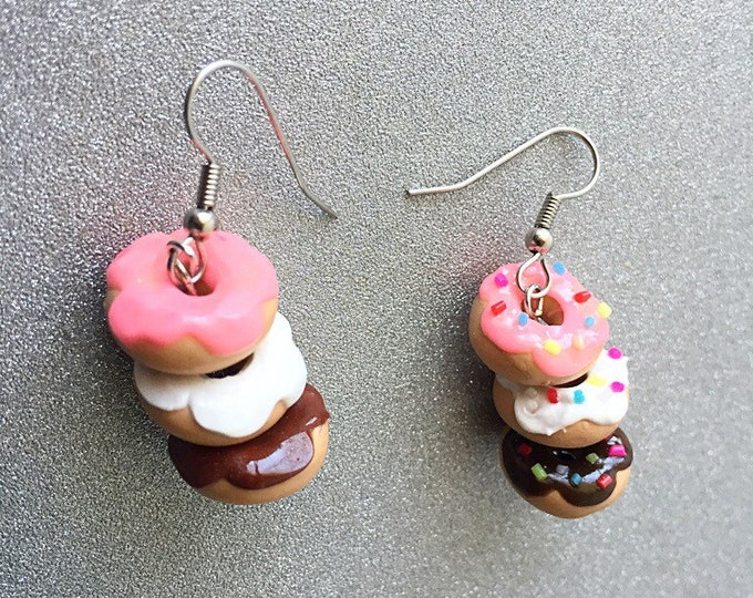 Featured listing image: Donut Earrings Stack of Donuts Polymer Clay Earrings