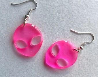 Alien Earrings Alien Jewelry Pink Alien Dangle Alien Earrings