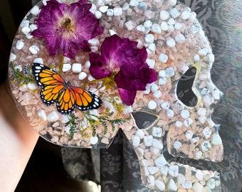 Howlite & Rose Quartz Crystal Skull Wall Decor Skull Art Flower Skull Art