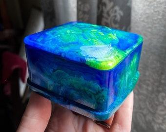 Fluorescent Yellow & Blue Trinket Box