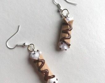 Cannoli Earrings Cannoli Jewelry Polymer Clay Earrings Food Earrings Cannolis