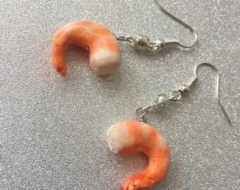 Shrimp Polymer Clay Earrings
