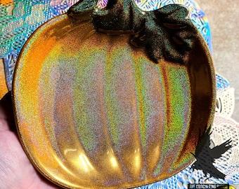 Pumpkin Trinket Dish Trinket Tray Glitter Orange Holo /Green Pumpkin