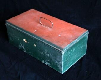 Rustic Red & Green metal storage box.