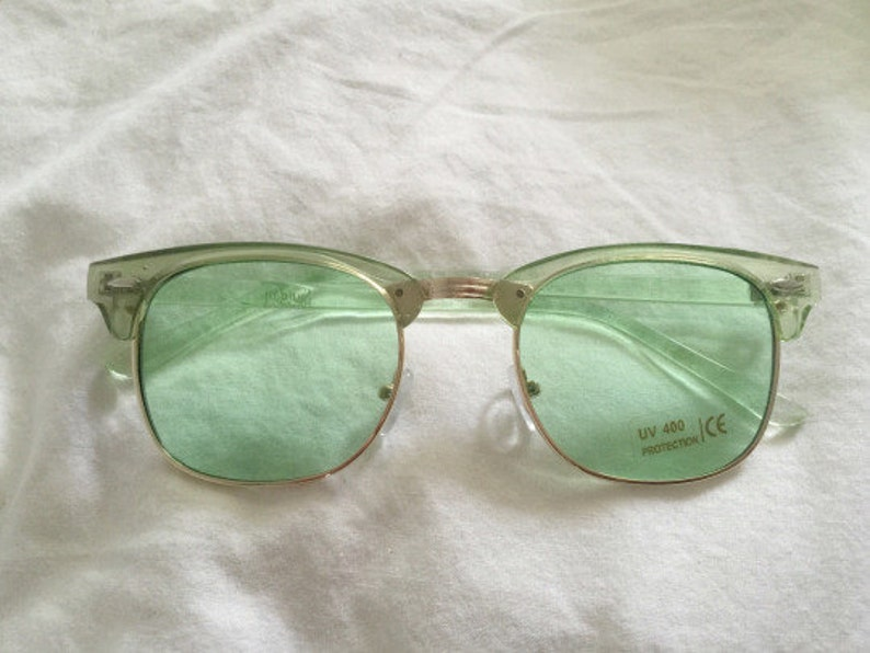 Retro Summer Green Gold Clubmaster Sunglasses image 0