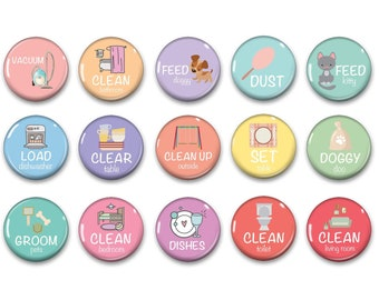 Pastel Chore Magnets with Images - Family Chores - Kids Jobs - Family Command Center - Adult Chore Magnets - Family Organization