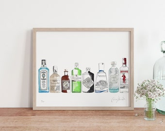 Lined Up Gin Print - Perfect Gift for a Gin Lover - G&T - Limited Edition Print