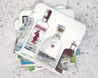 Gin Coaster Set - Illustrated with Gin Bottles - Perfect for your Kitchen or for a Gin Lover