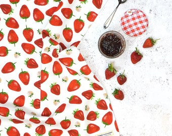 Strawberry Tea Towel - Watercolour illustration - Perfect for your Kitchen - Made in the UK