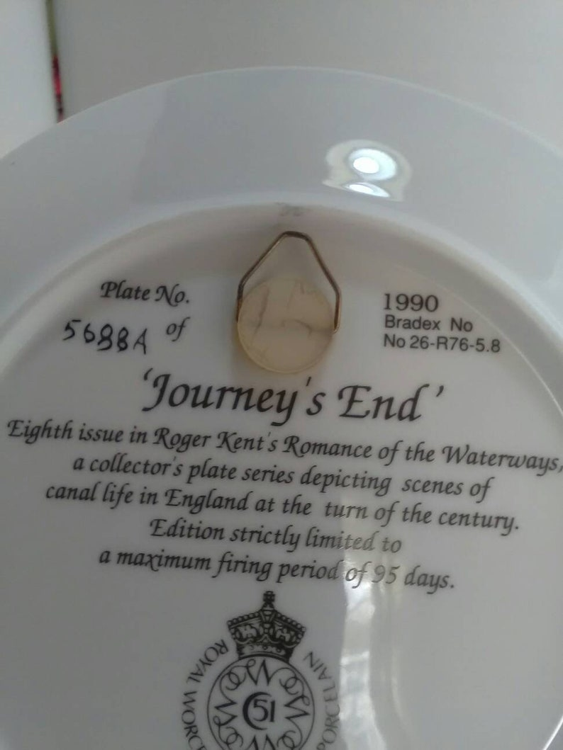 Collectable plate canal life Royal Worcester waterways picture fine porcelain Roger Kent Journeys End made in 1990 made in England