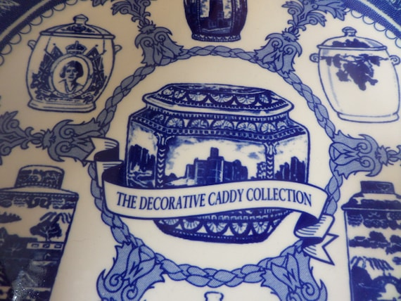 Ringtons plate, Masons Ironstone, blue and white, collectors plate,  decorative caddy, caddy collection, made in England, tea caddy designs