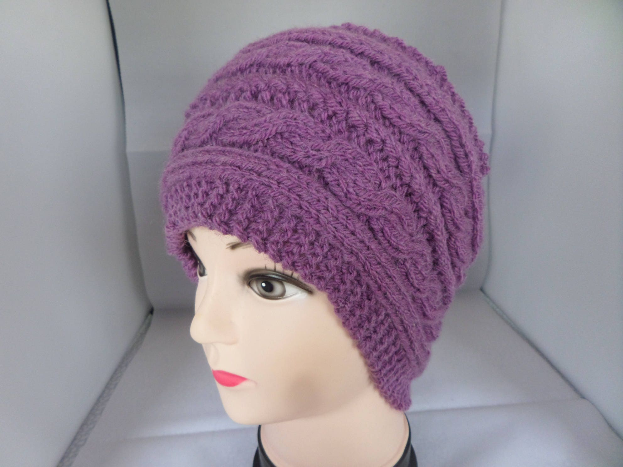 fe8c22be2 Knitted ear warmer, knitted headband, Heather colour band, cable pattern,  Aran weight yarn, MRH067, country style, cable knitted
