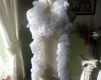 Lacy scarf, Long lacy boa, Lace edged scarf, hand crocheted, pure white scarf, fashion scarf, lightweight boa, spring accessory, white boa