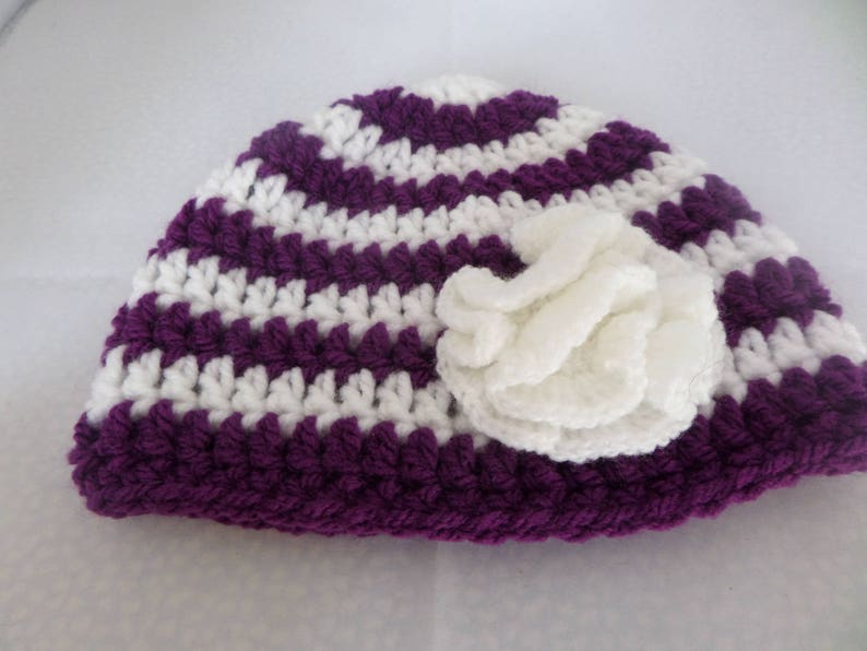 hat with frilly flower hand crochet set 0 to 6 months Baby photo prop worsted weight yarn nappy cover MRH069 white and purple