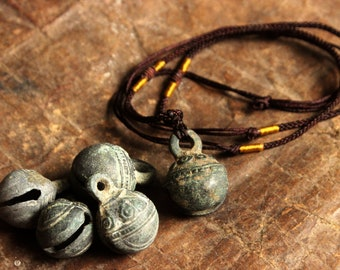 Hmong Handmade Pendant Necklace Hill Tribe Tribal Ethnic Hippie Boho Shaman Bell Old Antique