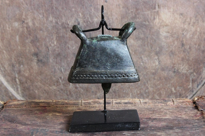 Burmese Bronze Cattle Bell 19th Century Asian Cowbell On Stand