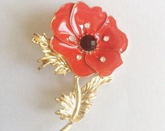 Rock Rockabilly Pin up Red & Gold Poppy Flower metal brooch