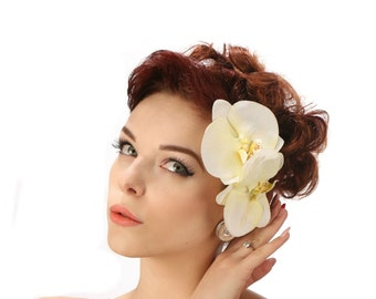 Ivory Cream Orchid hair flower comb fascinator