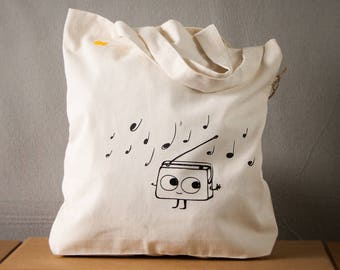 Cute Radio cotton canvas tote bag for shopping dancing Radio music graphic  - in multiple colors