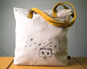 Music tote sturdy heavy cotton canvas tote bag for shopping, zippered tote bag, soft suede handles, dancing Radio music graphic, warm gray