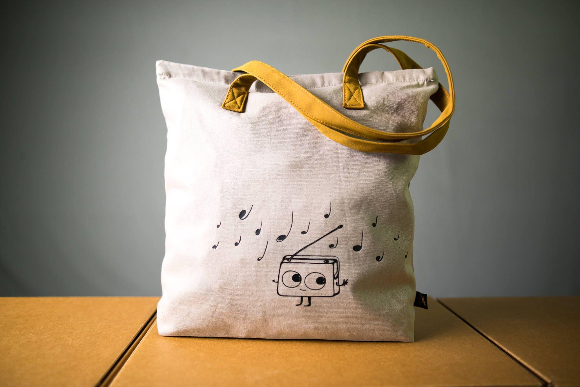 stabile musik einkaufstasche mit reissverschluss und velour etsy. Black Bedroom Furniture Sets. Home Design Ideas