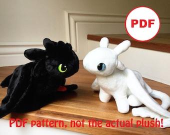 e04b042085d Toothless + Light Fury plushie sewing pattern + tutorial bundle