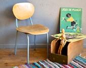 Chair years 50 wood and base retro vintage children's school Chair tubular Soviet kid flesh french school furniture chair