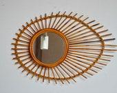 RESERVE Vintage wall mirror in rattan eye