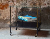Serving pedestal table glass and metal style Guariche 50s design side table glass french fifties midcentury furniture
