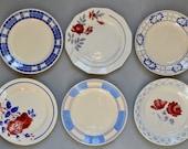 Vintage old dishes mismatched plates