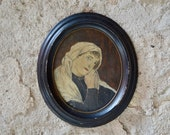 Painting Portrait of woman in prayer oil signed