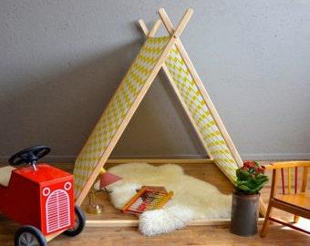 Tente cabane en tissu et bois pour enfants
